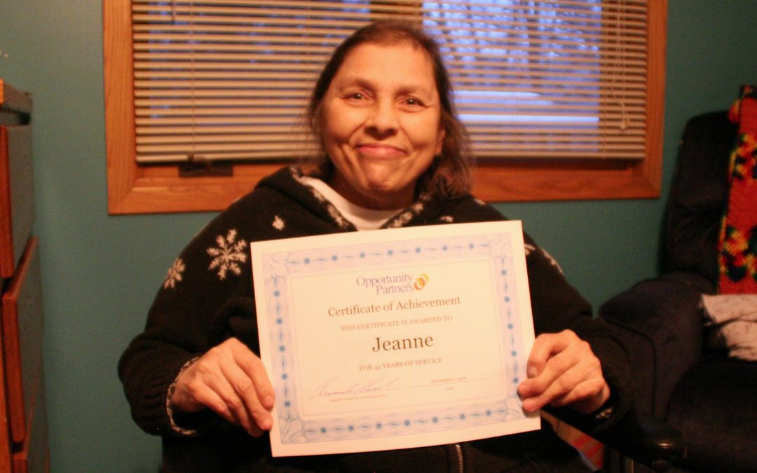 Jeanne Celebrates 45 Years at Opportunity Partners
